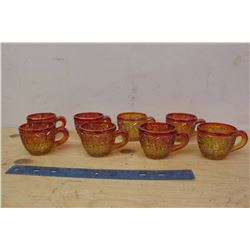 Red Carnival Glass Punch Cups (8)