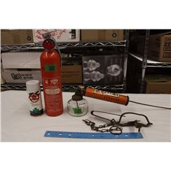 Fly Ded Sprayer, Super 6 Fire Extinguisher&A Small Animal Trap