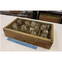 Lot of Clear Insulators w/Wooden Box