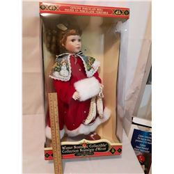 Winter Nostalgic Collectible Genuine Porcelain Doll w/Stand