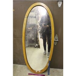 "Large Wooden Framed Oval Mirror (4 Ft Tall x 20"" Wide)"