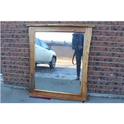 "Large Wooden Framed Mirror (35.5""x40"")"