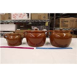 Vintage Pottery Bean Crocks (3)