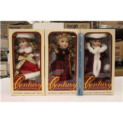 Hand Crafted Century Collection Genuine Porcelain Dolls(3)