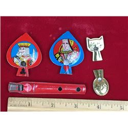 Vintage Tin Whistles (5) (King, Queen, Cracker Jack)