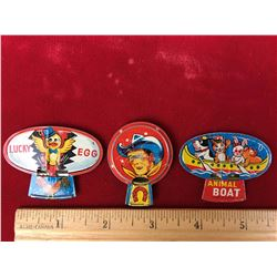 Vintage Tin Whistles (3) (Animal, Cowboy, Bird)