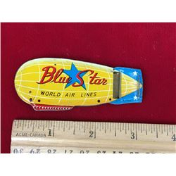 Vintage Tin Toy Whistle, Blue Star Blimp