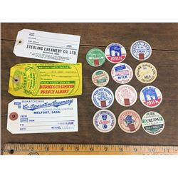 Lot Of Milkcap Cream Can Tags, Bottle Covers (Brandon, Prince Albert, Melfort)