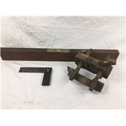 Antique Carpenters Tools (Brass & Wood Level (Stanley), Square, Plane)