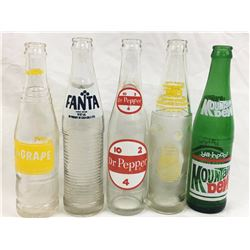 Vintage Soda Pop Bottle Lot (Nu Grape, Dr. Pepper, Tab, Mountain Dew, TAB)
