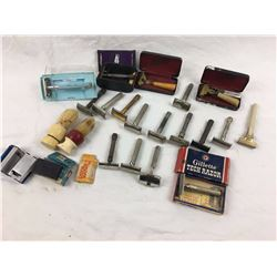 Large Vintage Safety Razor Lot (18) W/Extras