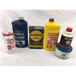 Oil And Related Advetising Tins, Jugs, Jar Lot