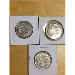 Canada Silver 50 Cent Coins (1952, 53, 56)