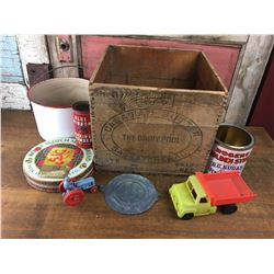 Misc Lot Sask Dairy Pool Crate, Tins, Enamel, Toys