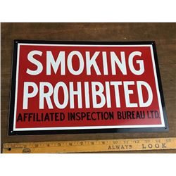 Nos Vintage No Smoking Insurance Sign