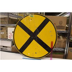 "30"" Round Vintage Railway Crossing Sign"