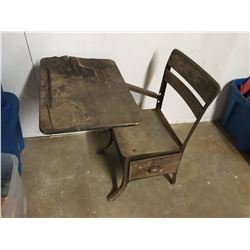 Antique Metal & Wood School Desk (Needs Some Work)