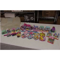 Lot of BlueBird Polly Pocket Houses w/Misc Toys&Rubbermaid Container