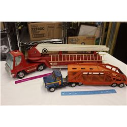 Vintage Nylint Toy Fire Truck& A ERTL Car Carrier Trailer Toy Truck