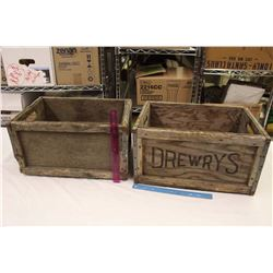 "Pair of Wooden Crates (1 Marked Drewrys)(19""x13""x10"")"