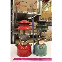 Two Coleman Lanterns(Red w/Broken Glass&Green Without Glass)