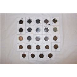 24 Different Canada 1 Cent Coins (1859,1881,1882,1884,Etc)