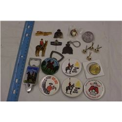 Lot of R.C.M.P. Items: Buttons, Lapel Pins, Bottle Openers,Etc