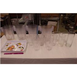 Lot of Water Pitchers, Serving Tray & Tubs