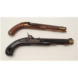 """Lot of two Kentucky pistols.  One is an  original antique which is missing the lock  with 9 ½"""" octag"""