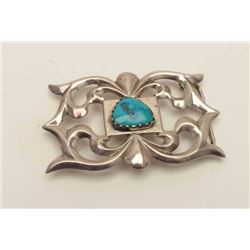 """Huge turquoise nugget in silver buckle signed  """"R.L.B."""" (Begay family?) along with a  classic sandca"""