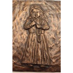 Pair of bronze plaques of Western themes,  signed Tom Knapp (#5 of 1,000).    From the  estate of El