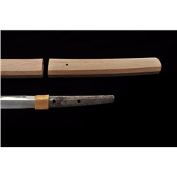 "Koto period katana signed in sira-siya. The  blade measures 25 ½"" and shows a fresh polish  and over"