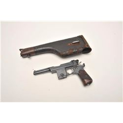 Brevete Bergmann semi-automatic pistol with  stock holster (flap leather with wood  forend), 9mm cal