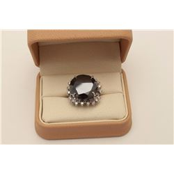 Exceptionally large 28.26 carats round  'Black' Diamond set in a 14 karat white gold  ladies ring su