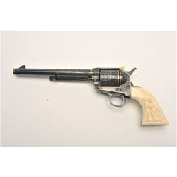 "Important Colt engraved SAA revolver, .45  caliber, 8"" barrel, blued with gold banding  and accents,"