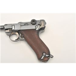 "Romanian Luger semi-automatic pistol by DWM,  9mm caliber, 4"" barrel, blued finish, high  point wear"