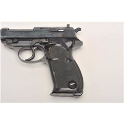 "Walther Model HP semi-automatic pistol, 9mm  caliber, 5"" barrel, blued finish, checkered  grips, S/N"