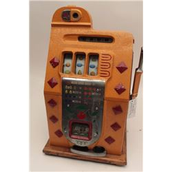 Mills .10 cent vendor slot machine. Re-vamp  with key, cash box and jackpot counter.  Original good.