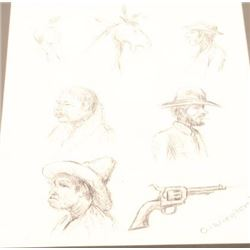 "Framed and matted pencil sketch of characters  and a Colt SAA revolver, signed  ""O-Wieghorst""; possi"