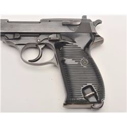 "Walther Model HP semi-automatic pistol, nazi  proofed, 9mm caliber, 4.75"" barrel, military  blue fin"