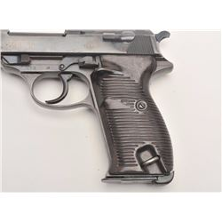 "P-38 semi-automatic pistol, marked ""ac 41"",  9mm caliber, 5"" barrel, military blued  finish, nazi pr"