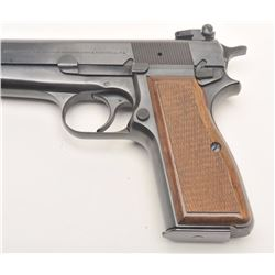 "Browning Hi-Power semi-automatic pistol, 9mm  caliber, 4.75"" barrel, blued finish,  adjustable rear"