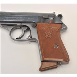 "Walther PPK semi-automatic pistol, 7.65mm  caliber, 3.5"" barrel, blued finish,  reproduction checker"