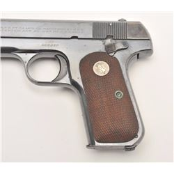 "Colt Model 1903 pocket semi-automatic pistol,  .32 caliber, 4"" barrel, blued finish,  checkered wood"