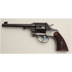 "Colt Officer's Model flat top target DA  revolver, .38 caliber, 6"" barrel, blued  finish, checkered"