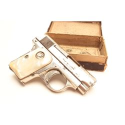 Colt Model 1908 semi-automatic pistol,  factory nickel finish, medallion pearl grips,  S/N 146492, w