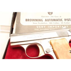 "Belgian-made ""Baby"" Browning semi-automatic  pistol, .25 caliber, in factory two-tone  nickel with g"