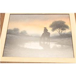 "Framed watercolor by Don Yena entitled ""Early  Water"" displaying a cowboy on horseback at a  waterin"