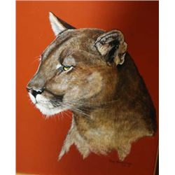 Framed painting by Kay Lane (wife of noted  firearms engraver Ben Lane) of a mountain  lion, approxi