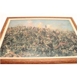 "Framed oil over color print on canvas of  Custer's Last Stand, approximately 20"" x 27""  overall."